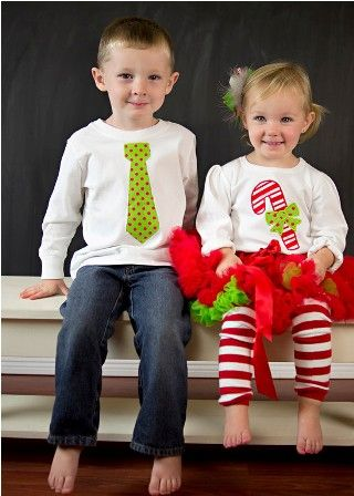 PERSONALIZED Matching Brother and Sister Candy Cane Christmas Outfits - Red and