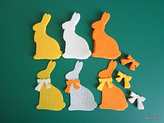 Die cut felt rabbit shape18 pcs spring bunnies&bowsfelt by DGNCY
