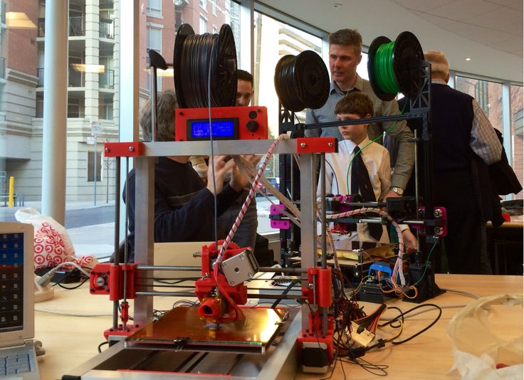 Guests at the Toronto 3D Printers MeetUp at the Toronto Reference Library in March 2014 saw a variety of 3D printers demonstrated.
