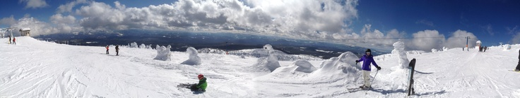 Panoramic shot:  At the top of one of the mountains at Big White Ski Resort!  Snow ghosts, powder snow, great weather and family loving every minute of it...