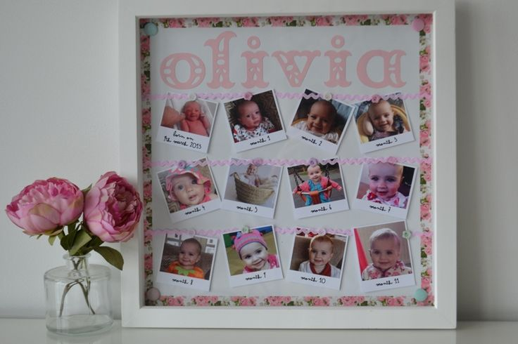 Diy first birthday gift month by month photo frame www for Crafts for 14 month old