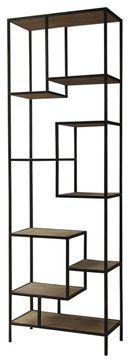 """Geometric Reclaimed Wood and Iron Bookcase 102"""" - eclectic - bookcases cabinets and computer armoires - new york - Zin Home"""