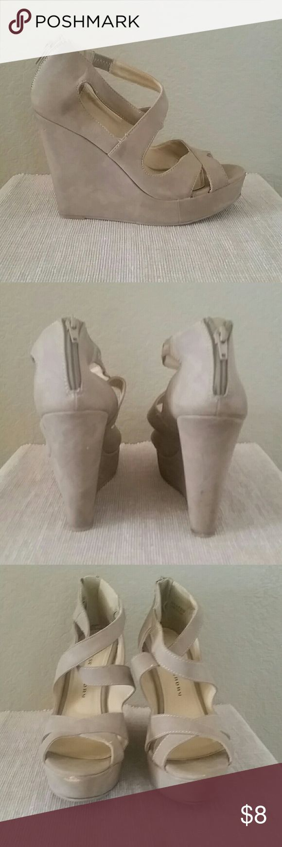 Chinese laundry wedge tan sandals Size 8 1/5 tan sandals, wedge heel, Chinese Laundry, see pics for wear marks, price reflects use, 1 in platform, 5 in total heel height, back zip Chinese Laundry Shoes Wedges