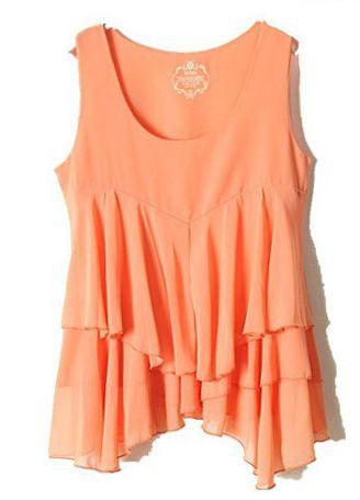 Orange Sleeveless Cascading Ruffle Chiffon Vest