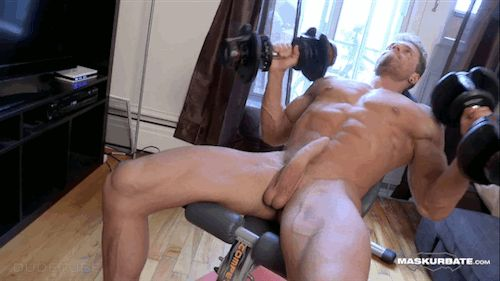 Nudist Incline Dumbbell Bench Press  Naked Men -8922