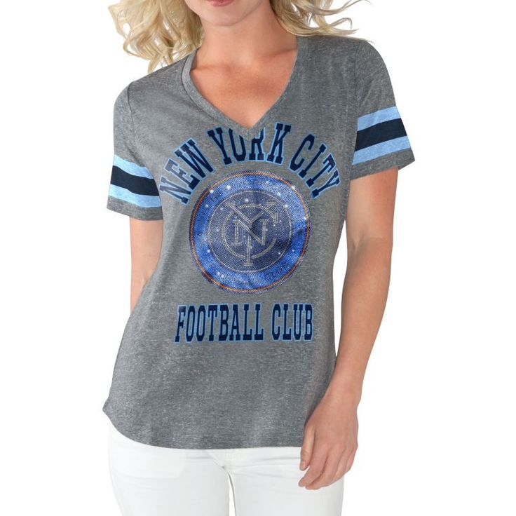 G-III For Her Women's New York City FC Triple Play Grey T-Shirt, Size: Medium