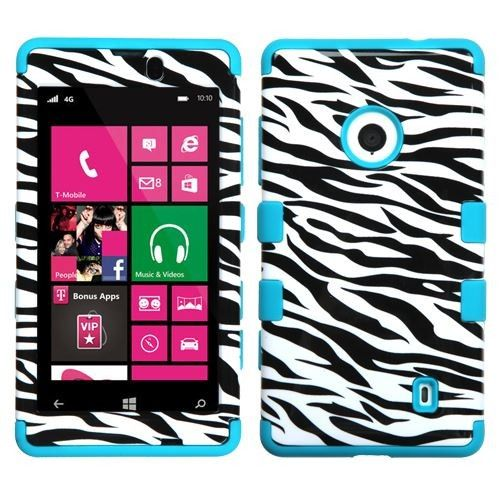 Get the Most Stylish and Cool #Nokia #Lumia #521 #Protector #Skin #Cover - Hybrid Triad Zebra Skin/Tropical Teal Total Defense Shipped Free at @Acetag. Come soon to get protection for your phone! Just $10.99