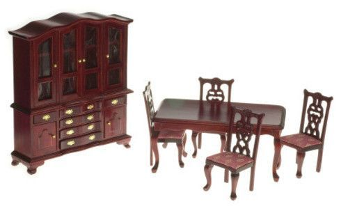 Victorian Dining Room Set - Mahogany with Rose