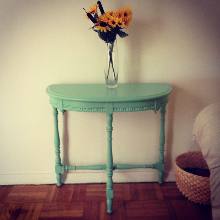 painted hallway table diy mint green
