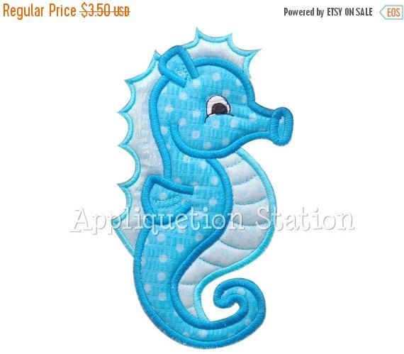 3 DAY SALE Seahorse Applique Machine Embroidery Design Pattern blue boy or girl nautical ocean fish baby animal beach Sea Horse INSTANT Down