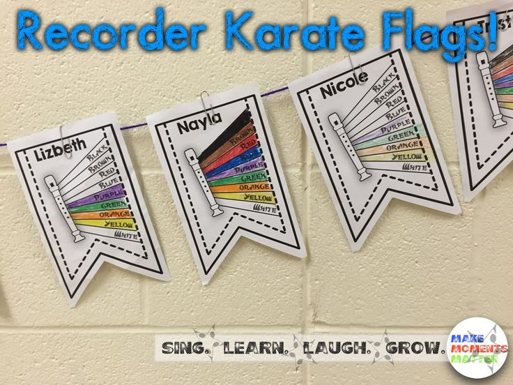 Recorder Karate Flags! Explanation of how I use them and FREE template download on the blog! - Make Moments Matter