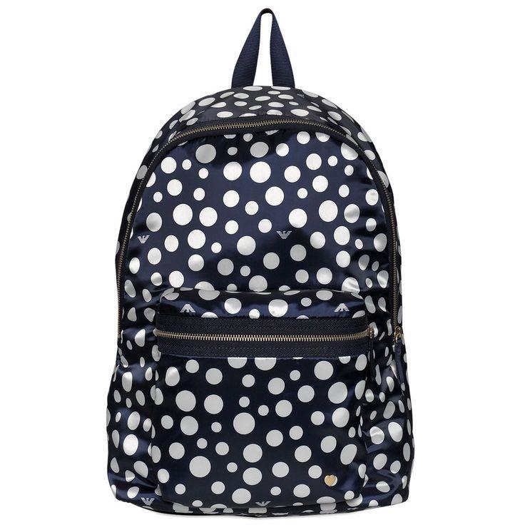 Armani Navy & White Polka Dot Backpack