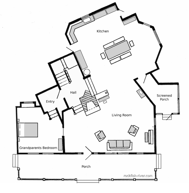 Loved this house, always wanted to replicate it. 1st floor Floor Plan for The Waltons Homestead