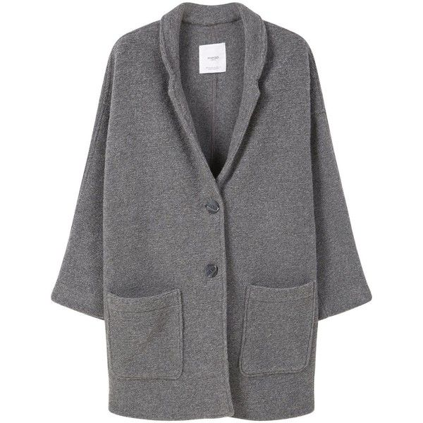 Mango Texture unstructured coat ($75) ❤ liked on Polyvore featuring outerwear, coats, grey, women, grey coat, mango coat, gray coat, lapel coat and textured coat