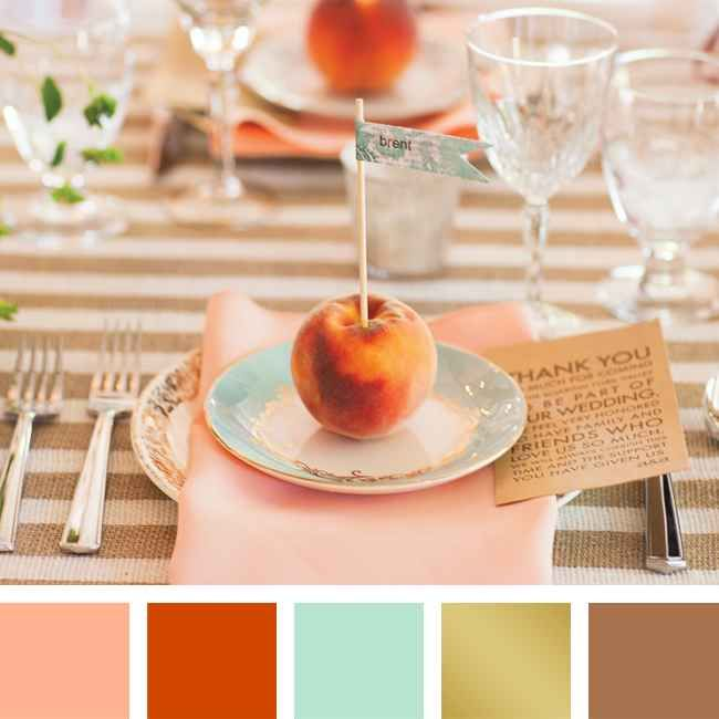 Color scheme: Peach + Burnt Orange + Misty Teal + Gold + Camel