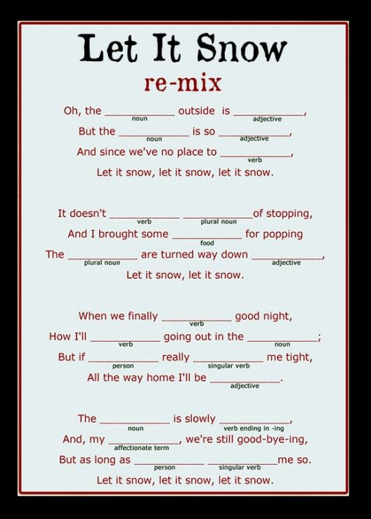 Christmas Mad Lib Songwriting..The students pair up and each student has a different song. It would be a fun holiday activity!