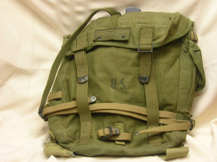 WWII Era U. S. Army Military Backpack Canvas Olive Green Vintage