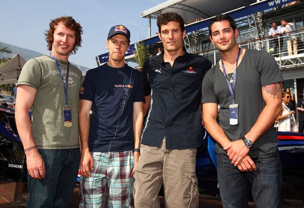 James Blunt Photos Photos - (L-R) James Blunt, Sebastian Vettel, Mark Webber and Jesse Metcalfe pose at the Red Bull hospitality centre during Qualifying at the Monaco Formula One Grand Prix at the Monte Carlo Circuit on May 23, 2009 in Monte-Carlo, Monaco.  (Photo by Gareth Cattermole/Getty Images for Red Bull) * Local Caption * James Blunt;Sebastian Vettel;Mark Webber;Jesse Metcalfe - Celebrity Sightings at the F1 Grand Prix of Monaco