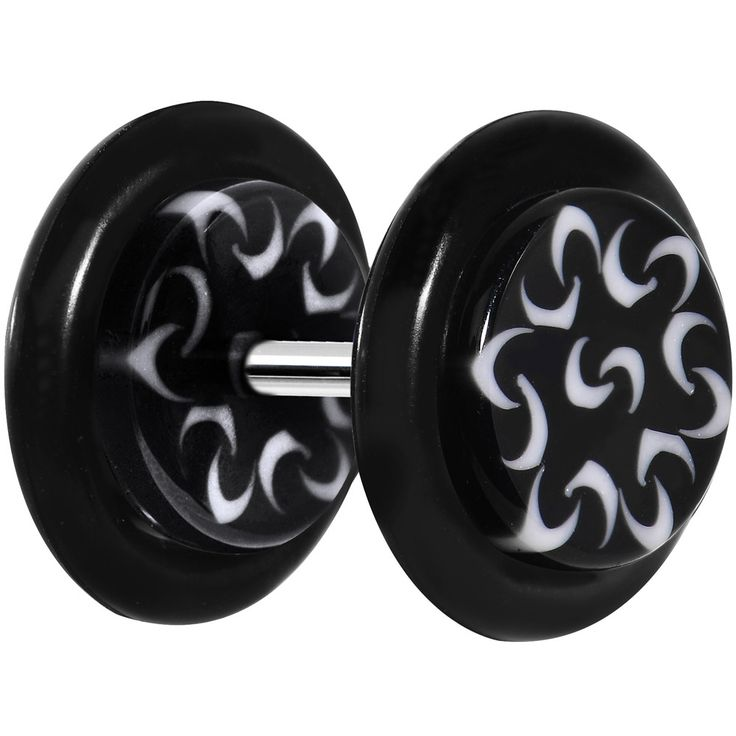 Black and White Trippy Tribal Cheater Plug