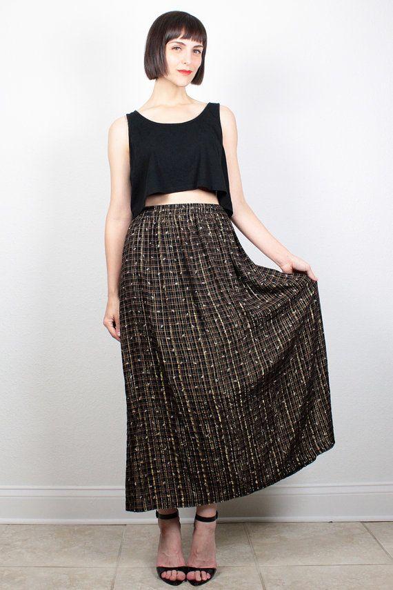 Vintage Maxi Skirt 1980s Skirt Black Gold Metallic Plaid Floral Print Midi Skirt…