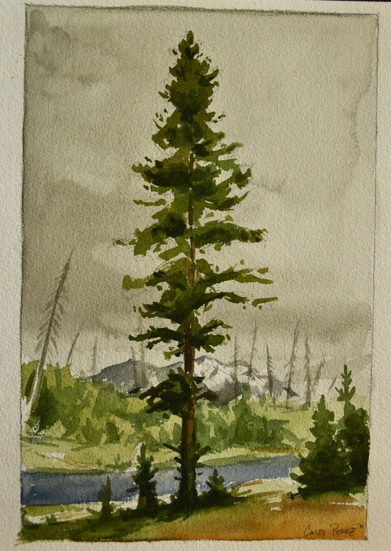 Tree Painting Watercolor Landscape 8x12 by BohemianHabits on Etsy, $75.00