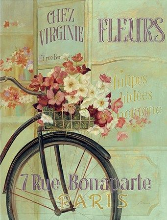 Paris Bicycle by Fabrice De Villeneuve This is the print we have in our kitchen, on beautiful purple wall. Looks fab!