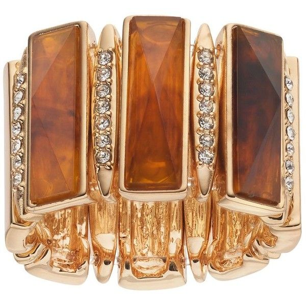 Jennifer Lopez Rectangular Link Stretch Ring ($13) ❤ liked on Polyvore featuring jewelry, rings, dark brown, rectangle ring, stone ring, jennifer lopez jewelry, fake jewelry and imitation jewellery