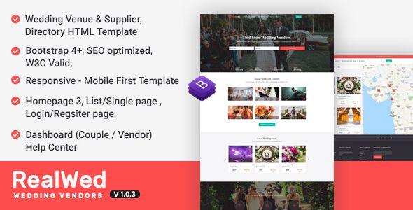 Realwed Wedding Supplier Directory Listing Html Template Stylelib Wedding Website Template Website Template Design Wedding Suppliers