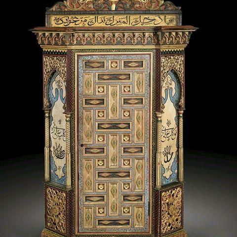 أثاث من الخشب منحوت ، القرن 19 ،الجزائر Meuble en bois sculpté , 19 ...
