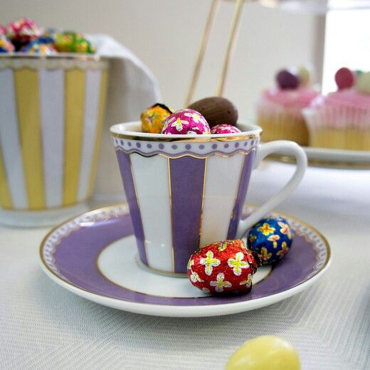Easter chocolate eggs in Noritake Carnivale cup and mug.