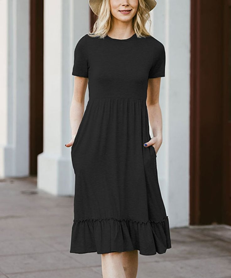 Take a look at this Black Ruffle Pocket Fit & Flare Dress today!