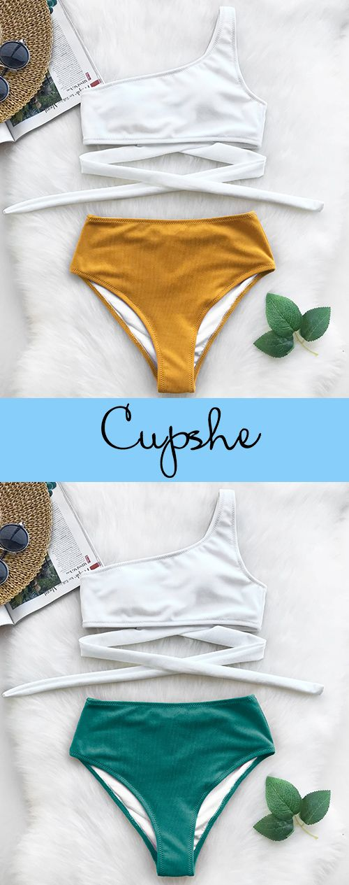 Hot New arrival! Cupshe Always Want You One Shoulder Bikini Set, fashionable high-waist bikini set with ONE-SHOULDER design and fresh contrast color~ FREE shipping & Check now.