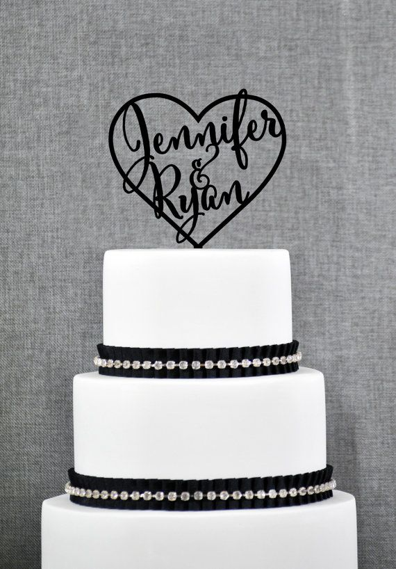 Wedding Cake Toppers with First Names Inside Heart, Personalized Cake Toppers, Elegant Custom Mr and Mrs Wedding Cake Toppers - (S002)