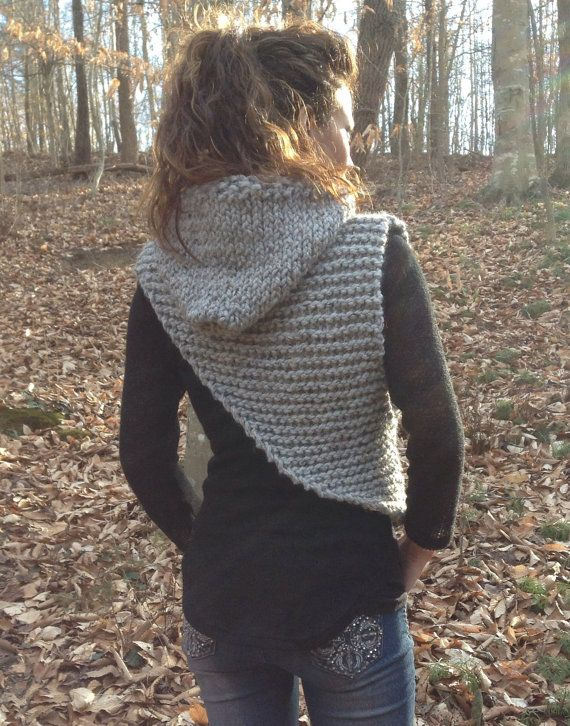 Hunger Games Inspired Wool Blend Cowl with Hood, Knitted and Super Warm