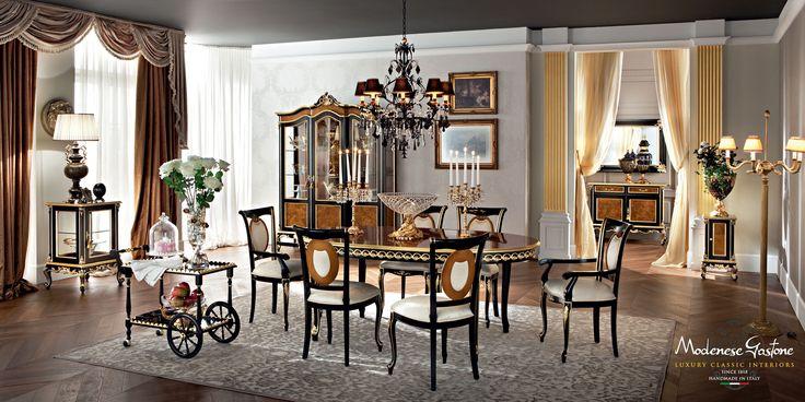 Home-interior-design-luxury-dining-room-furniture-Casanova-collection-Modenese-Gastone.jpg - Sala da pranzo in noce con decorazioni in radica e in foglia oro