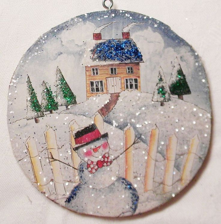 Folksy Snowman, House Glittered Christmas Ornament Vintage Greeting Card