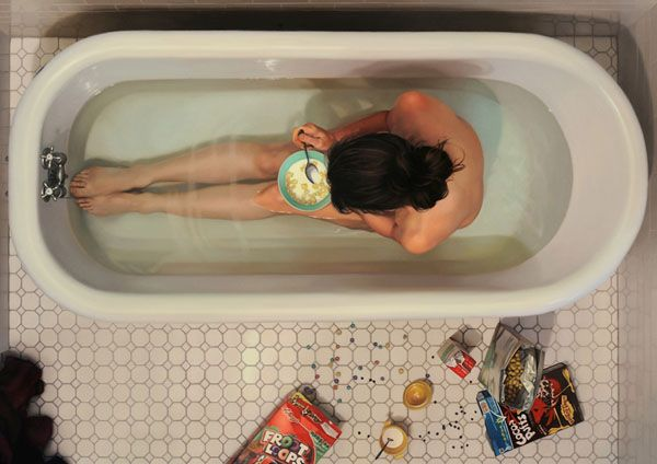 Lee Price's hyper-realistic paintings of women junk food in the tub.  I love me some cocoa puffs.
