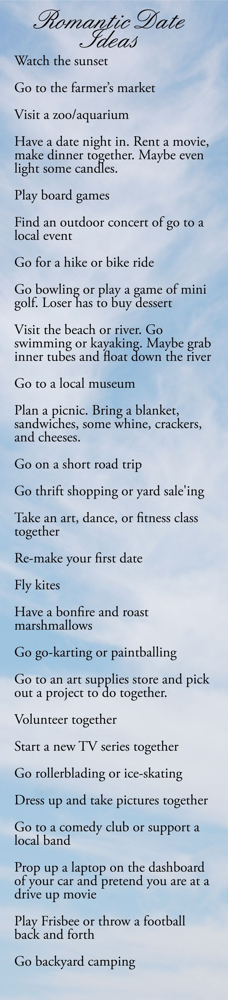 These are some great date ideas that I may have to try. There's always those days when we can't decide on what to do