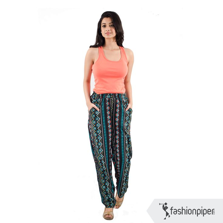 #breezy and #fashionable #pants Order now:http://www.fashionpiper.com/women/western-wear/women-bottom-wear/midnight-mood-trouser-1393.html