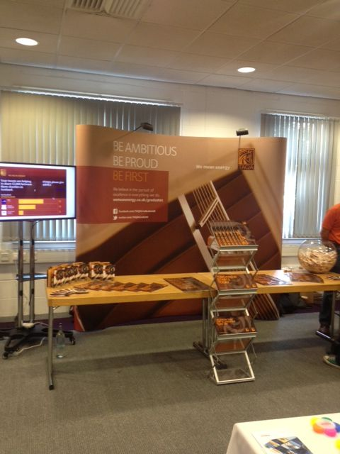 TAQA's Graduate Recruitment stand at Heriot Watt, Edinburgh. To launch the their first UK grad scheme they're donating £5,000 to three charities and asking students to tweet and decide how that money is shared. Votes are updated in realtime and displayed on a screen next to the stand. Nice work TAQA - great project to be part of. @TAQAGradsUK FB: TAQA Graduates UK