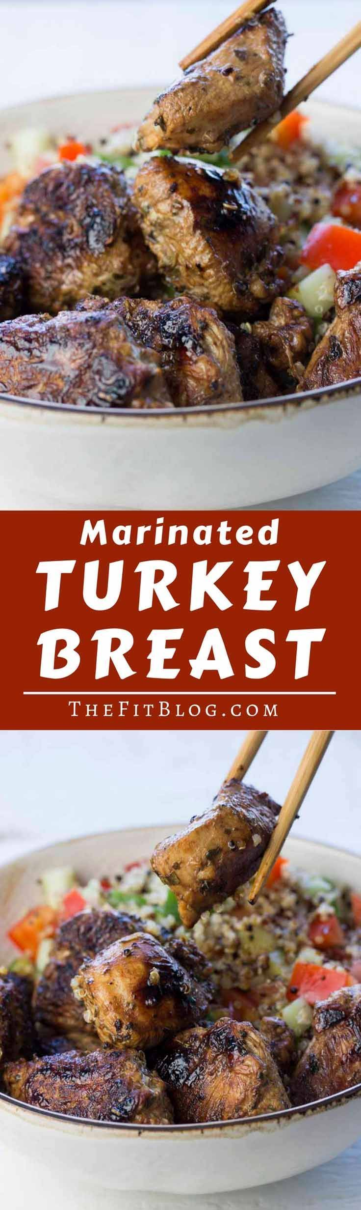 The best marinated turkey breast! This marinade is what takes turkey breast from being slightly boring to being absolutely delicious!   high protein   low carb   sugar free   gluten free   diabetes friendly   Paleo   via @TheFitBlog