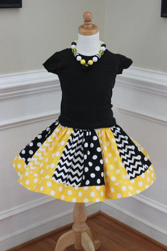 chevron skirt chevron outfit bee skirt bee by LightningBugsLane, $35.00