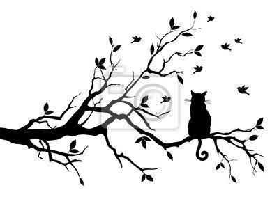 Sticker kat op een boom met vogels, vector