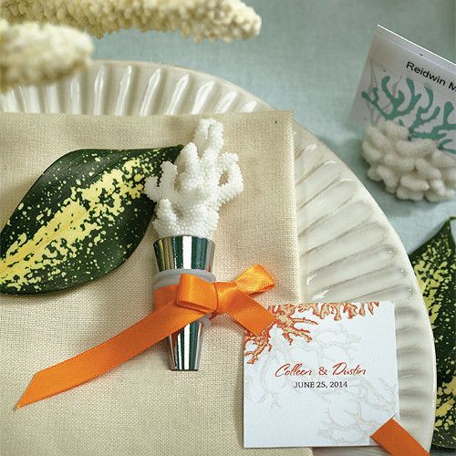 Coral Bottle Stopper with Gift Packaging - great idea for my beach wedding guests.