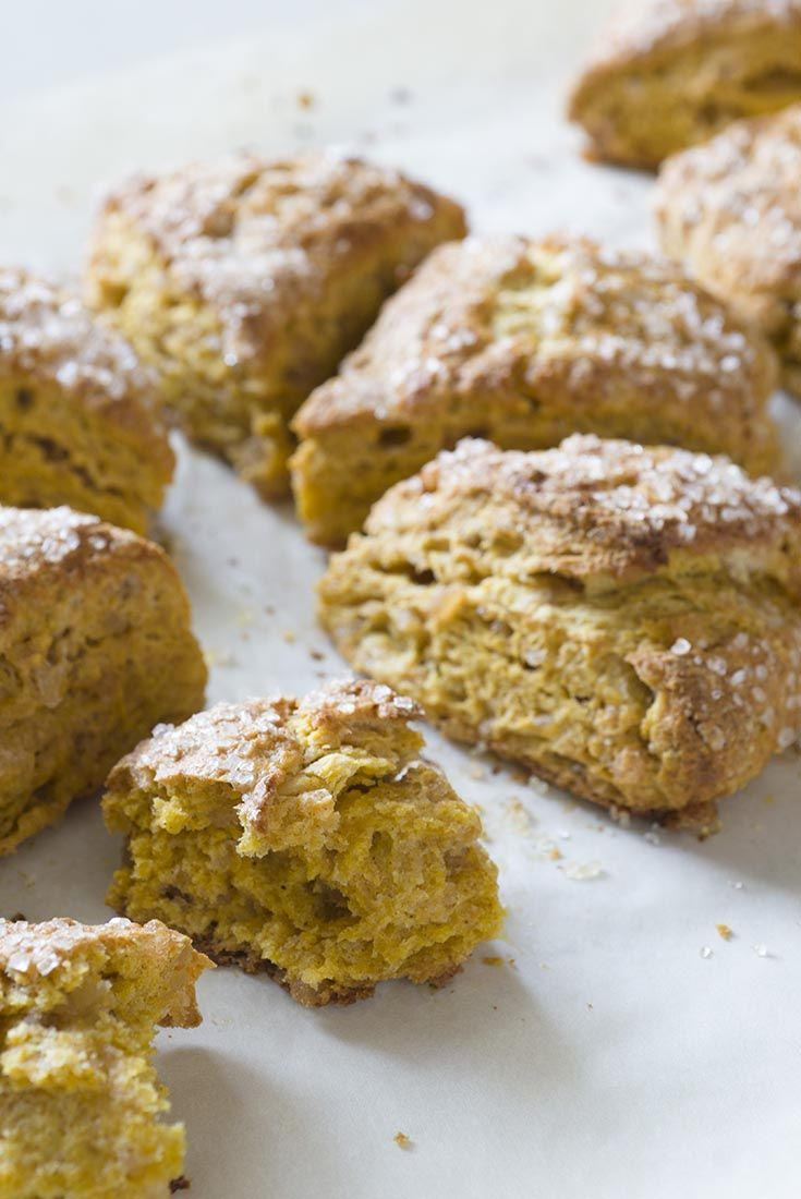 Harvest Pumpkin Scones - Moist, golden pumpkin scones, scented with autumn spices and filled with crystallized ginger and cinnamon chips.