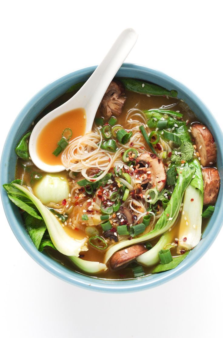 Ginger Garlic Noodle Soup with Bok Choy  ~  Make aoupbwiyhout noodles. Take some of the broth to cook noodles.  The others can add noodles to theirs.  Maybe add chicken to this to up protein.