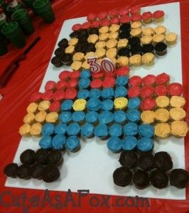 Super Mario cupcake cake :: This would be great for a Mario-themed