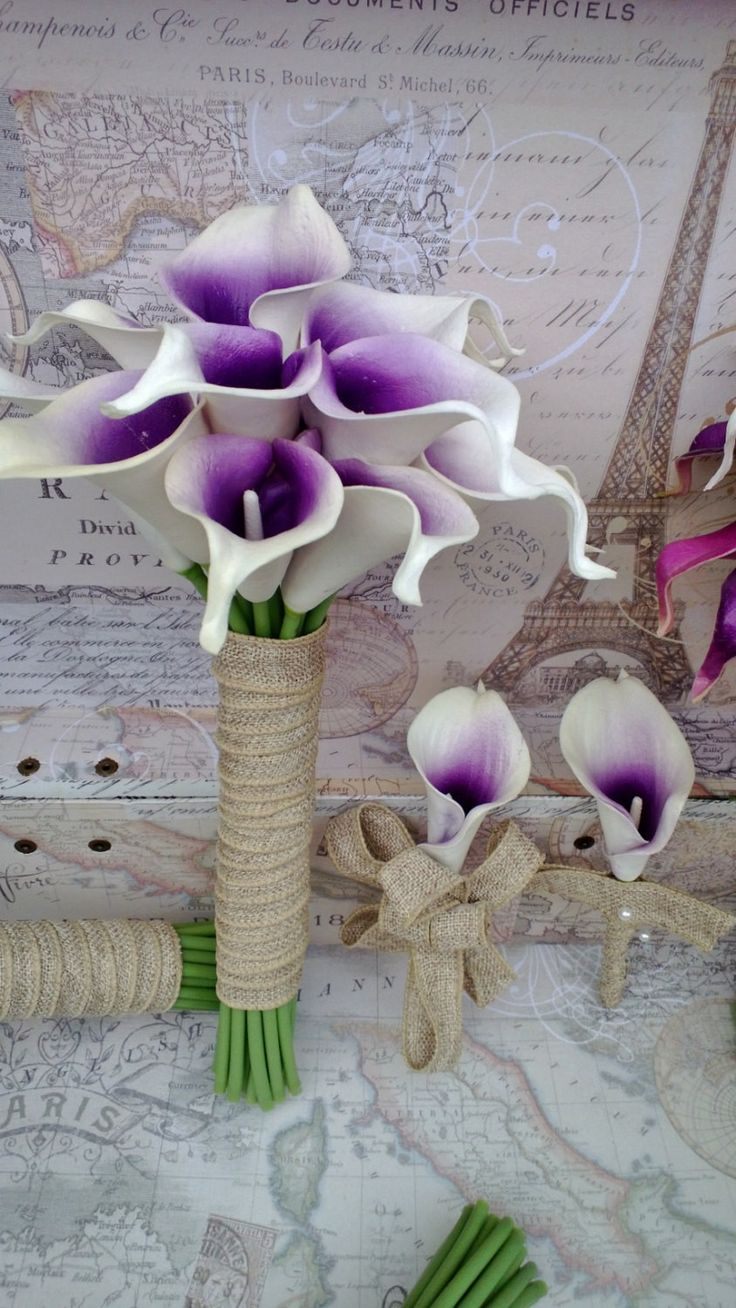 Real Touch White Purple Center Calla Lily Wedding Bouquet with Matching Boutonniere Set