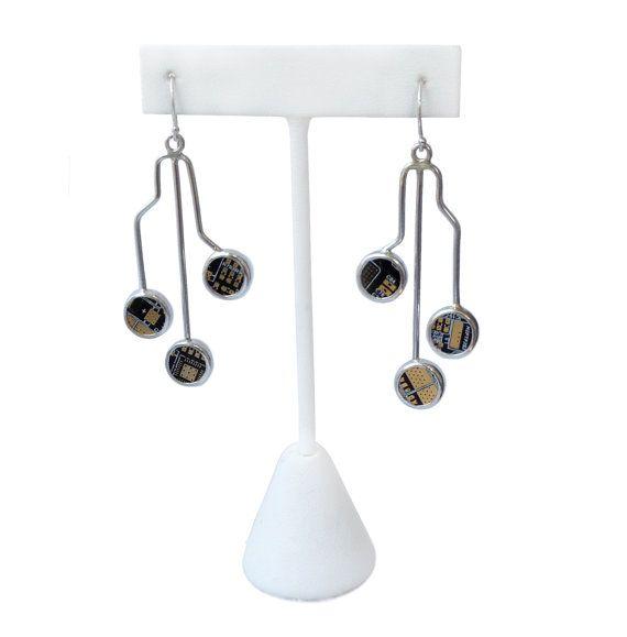 Circuit earrings, BFL bitcoin miner PCB board