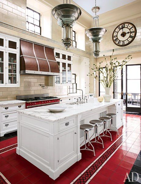 The Steven Gambrel–designed kitchen of a revitalized 1930s mansion in Old Westbury, New York.